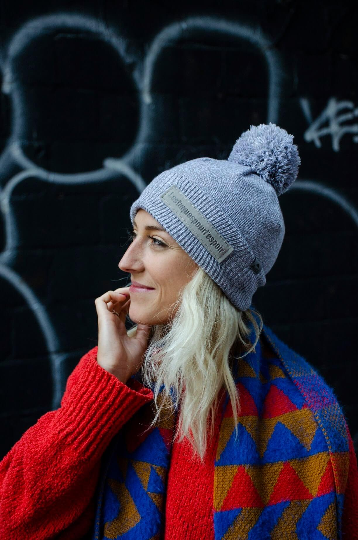 Canadian ice dancer Piper Gilles wearing a Hats for Hope toque.